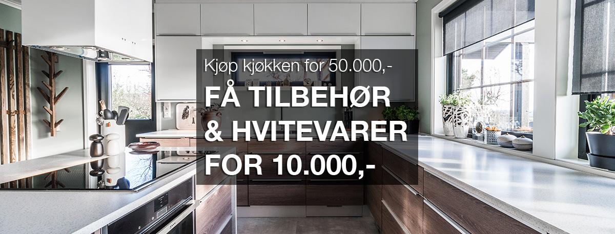 Vårkampanje på Nordsjøkjøkken. Kjøp kjøkken for 50.000,-, få tilbehør og hvitevarer for 10.000,-