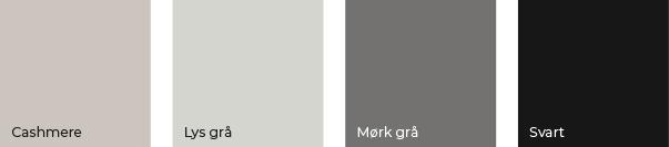 Fargekart av modellen Milano. Cashmere, lys grå, mørk grå og svart